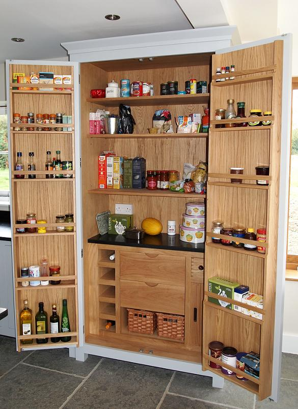 Larder doors upgrade full height pull out larder for Oak kitchen larder units